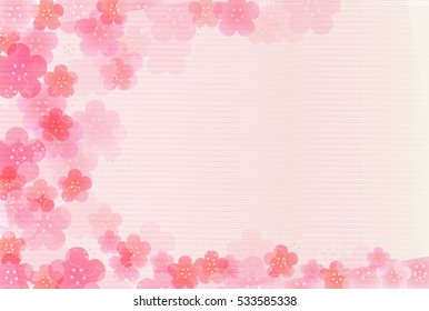 Plum New Year's cards Japanese paper background