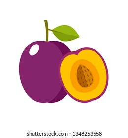 Plum on a white background isolated. Vector illustration