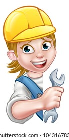 A plumber or builder woman contractor holding a spanner hand tool and peeking around from behind a sign