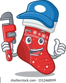 Plumber christmas stocking character in a bag