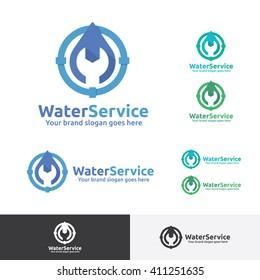 Plumber company Logo, Water System Service Logo