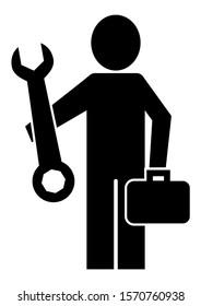 Plumber, handyman, black silhouette of man, vector icon on white background.