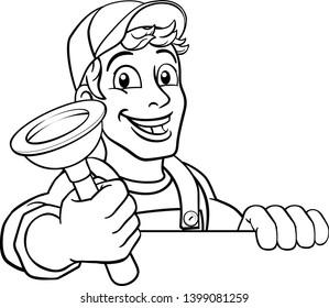 Plumber or handyman cartoon mascot holding a plumbing drain or toilet plunger. Peeking over a sign