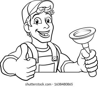 Plumber or handyman cartoon mascot holding a plumbing drain or toilet plunger. Peeking over a sign and giving a thumbs up.