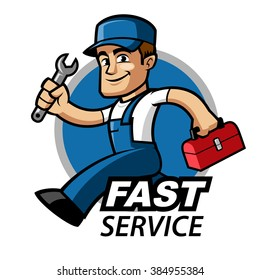Plumber, he is running and carries a spanner in his hand