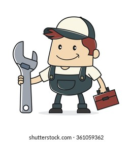 Plumber holding adjustable wrench