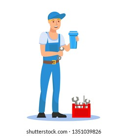 Plumber Holding Filter Cartridge Cartoon Character. Young Handyman with Screw Key. Worker in Blue Overall Flat Clipart. Red Toolbox Vector Illustration. Water Filtration System Installation