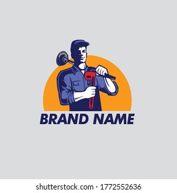 Plumber holding pipe wrench and plunger logo concept