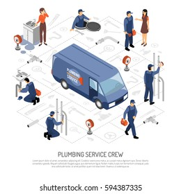 Plumber isometric concept with plumbing service crew symbols vector illustration