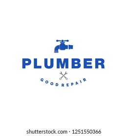 plumber logo template, icon and vector, logo for business