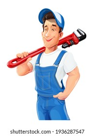Plumber man with pipe wrench. Work occupation. Pipe repair Service. Cartoon character, Isolated on white background. Eps10 vector illustration.