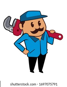Plumber mascot cartoon in vector