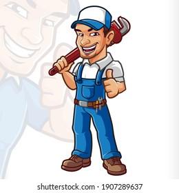 Plumber Mascot Cartton Mechanic Service
