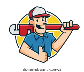 Plumber mascot, plumber character, worker cartoon