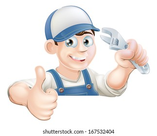 A plumber or mechanic holding an adjustable wrench or spanner and giving a thumbs up while peeking over a sign or banner