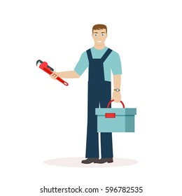 Plumber or mechanic with a wrench and a tool box in his hands. Man in work clothes. Flat character isolated on white background. Vector, illustration EPS10.