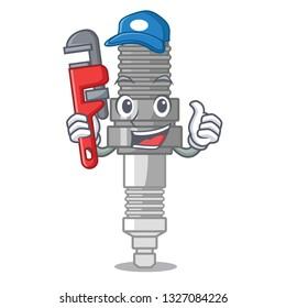 Plumber miniature spark plug in cartoon shape