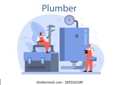 Plumber. Plumbing service, professional repair and cleaning of plumbing and bathroom equipmen. Vector illustration.