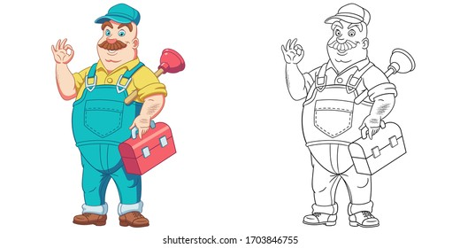 Plumber with plunger showing ok hand sign. Coloring page and colorful clipart character. Cartoon design for t shirt print, icon, logo, label, patch or sticker. Vector illustration.