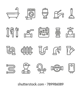Plumber related icons: thin vector icon set, black and white kit