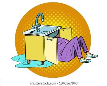 Du plombier pour réparer l'évier de cuisine. Bande dessinée de style rétro vintage