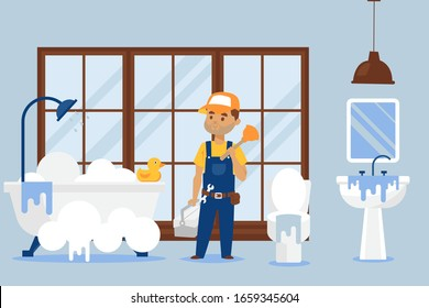 Plumber repair service vector illustration, male cartoon character with wrench and plunger tool fixing bathroom equipment. Handyman removes the sewer blockage and leak in sink, bathtub and toilet.