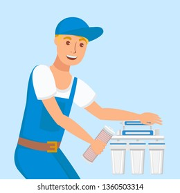 Plumber Repairing Home Filter Vector Illustration. Repairman Installing New Changeable Cartridges. Reverse Osmosis Filtration Equipment Isolated Design Element. Smiling Handyman Wearing Uniform