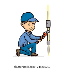 Plumber repairing the pipe. Hand drawn vector cartoon illustration. Isolated on white.