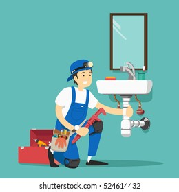 plumber repairing pipe on kitchen. Vector illustration.
