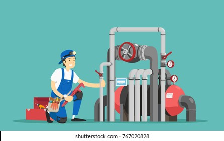 Plumber repairing pipe. Vector illustration.