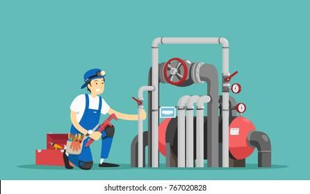 Plumber repairing pipe. Vector illustration.