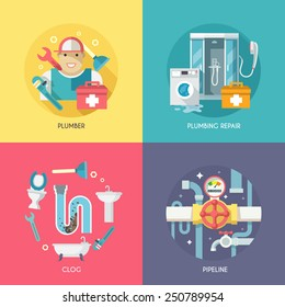 Plumber repairing pipeline and cleaning clogged sink with plunger four flat icons composition abstract isolated vector illustration