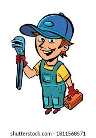 réparateur de plombier, professionnel. B.D. illustration pop art de caricature, illustration rétro dessinée à la main
