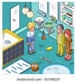 Plumber ruins a bathroom while the homeowners are watching in despair (isometric cartoon)