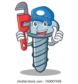 Plumber screw character cartoon style
