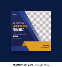 Plumber service Banner social media post template design