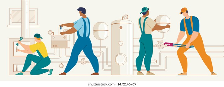Plumber Service, Heating Company Technicians, Construction Specialists Team Using Tools, Installing, Repairing, Maintaining, Servicing Home Heating, Hot Water Supply System Flat Vector Illustration
