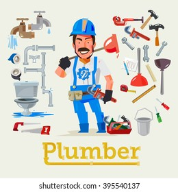 Plumber service profession with tools to fix. Character design - vector illustration