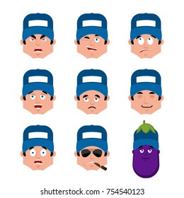 Plumber set emotion avatar. sad and angry face. guilty and sleeping avatar. fitter sleeping emoji face. Eggplant  Vector illustration