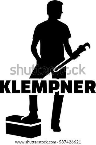 plumber silhouette german word のベクター画像素材 ロイヤリティ