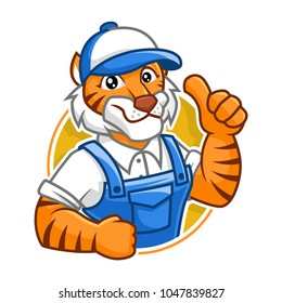 Plumber Tiger mascot vector in isolated white background, tiger character design, cartoon style
