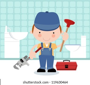 Plumber with tools and bathroom in background
