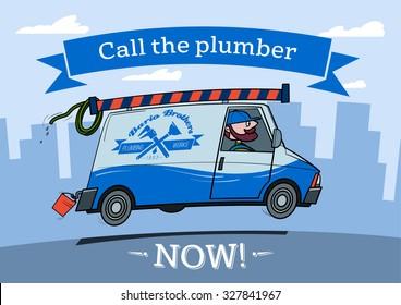 Plumber Van cartoon picture