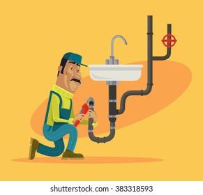 Plumber. Vector flat cartoon illustration