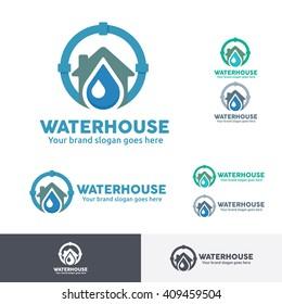 Plumber Water Home Logo Template
