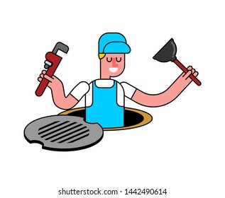Plumber in well isolated. Working in sump. vector illustration
