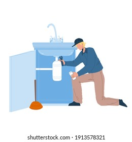 Plumber In Working Overall Fixing Sink Vector. Plumber Man Fix Kitchen Or Bathroom Pipe Leak With Spanner. Character Repairman Removing Blockage, Plumbing Repair Service Flat Cartoon Illustration