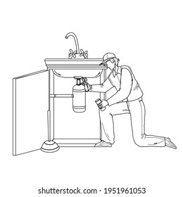 Plumber In Working Overall Fixing Sink Black Line Pencil Drawing Vector. Plumber Man Fix Kitchen Or Bathroom Pipe Leak With Spanner. Character Repairman Removing Blockage, Plumbing Repair Service