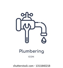 plumbering icon from other outline collection. Thin line plumbering icon isolated on white background.