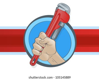 Plumber's Hand Grasping a Pipe Wrench